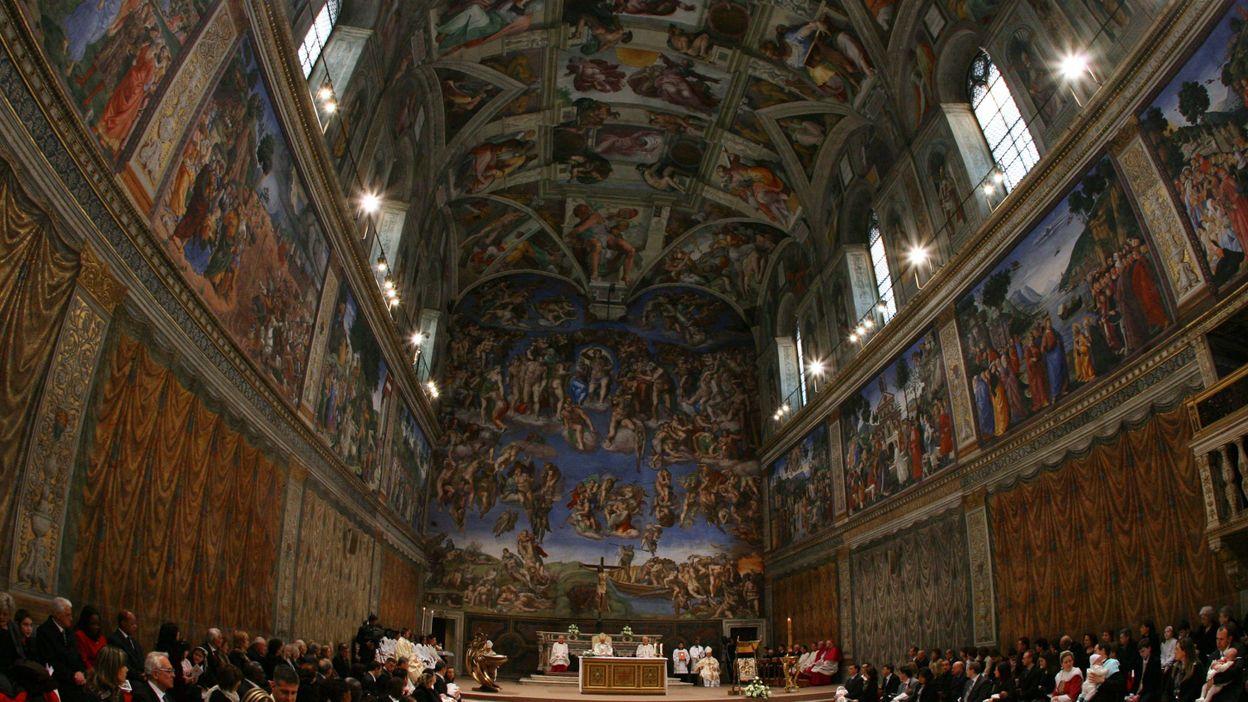 les fresques de la vo 251 te de la chapelle sixtine reconstitu 233 es en photo 224 montr 233 al