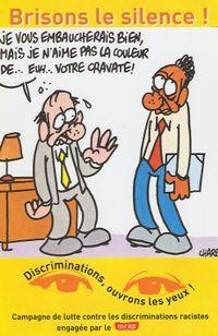 Une carte postale réalisée en 2000 par Charb pour le Mouvement contre le racisme et pour l'amitié entre les peuples (mrap).