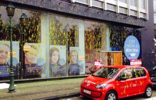 Action coup de poing de la FGTB Namur, la façade du MR dégradée