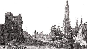 Gravure d'après un dessin de Augustin Coppens représentant la Grand-Place de Bruxelles après le Bombardement de 1695 par les troupes françaises de Louis XIV, de Vue du Marché aux Herbes vers la rue de la Colline et l'Hôtel de Ville (détail)