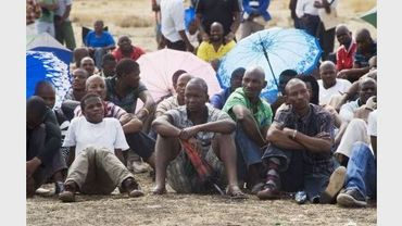 Les mineurs en grève le 28 août 2012 à Marikana