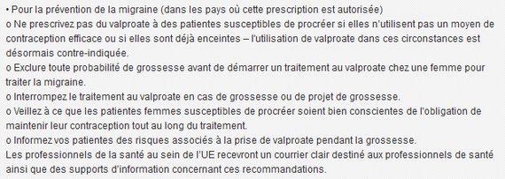 Recommandations de l'agence du médicament