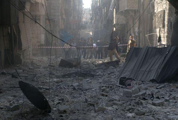 Alep, le 31 octobre, après un raid aux barils d'explosifs