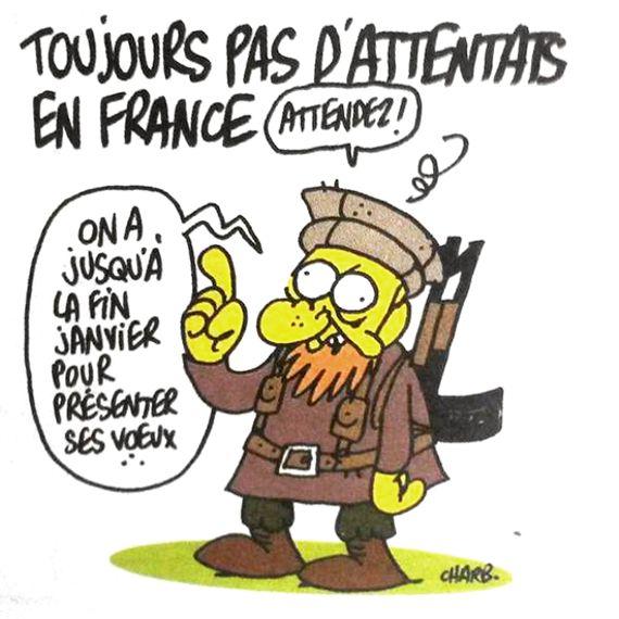 Le dernier dessin de Charb publié dans le numéro de Charlie Hebdo de ce mercredi 7 janvier 2015.