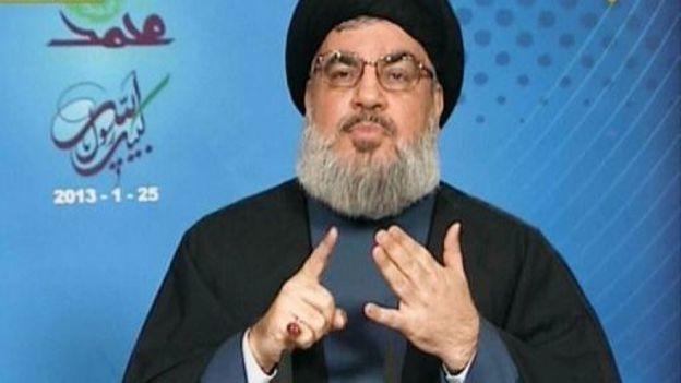 Image provenant d'une vidéo du chef du Hezbollah libanais Hassan Nasrallah, lors d'un discours sur la chaîne Manar TV le 25 janvier 2013