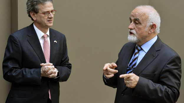 Jan Peumans (N-VA) et l'ambassadeur des Etats-Unis, Howard Gutman