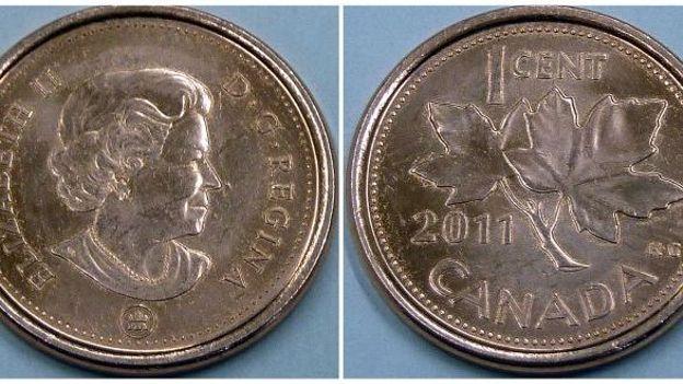 De 1 cent canadienne, à l'effigie de la reine d'angleterre et avec la